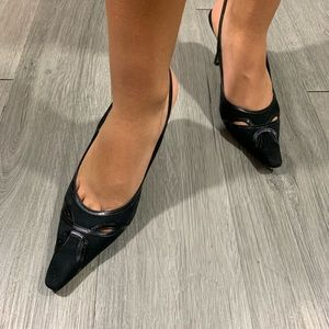 Ann Taylor Black Suede/Leather Slingback Heels